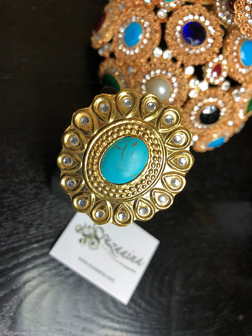 Mehr 22k Gold plated Kundan Ring (Adjustable size)