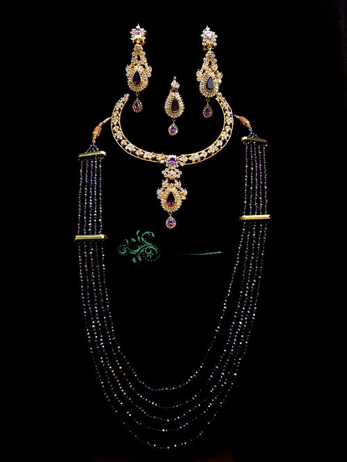 Shereen 24k Gold plated Bridal Necklace and Mala Set