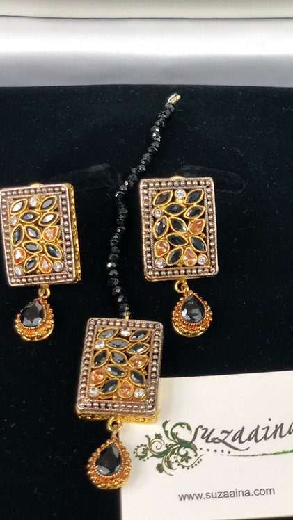 Yumnal 22k Gold plated Handcrafted Tikka and Earrings Set.