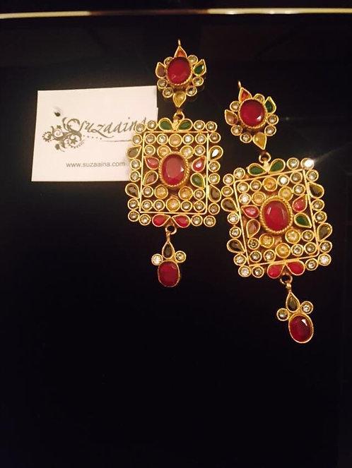 Jurhao 22kGold plated Handcrafted Kundan Earrings