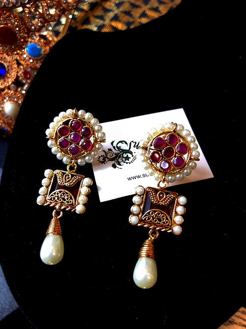 Yumna Sq 22k Gold plated Handcrafted Earrings