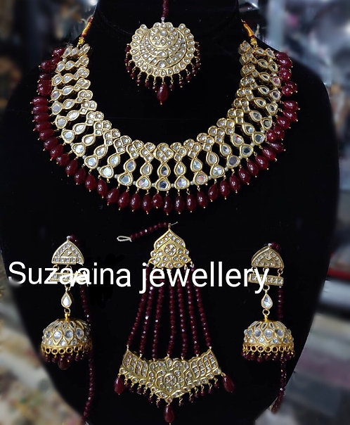 Anab 22k Gold plated Handcrafted Kundan Set .