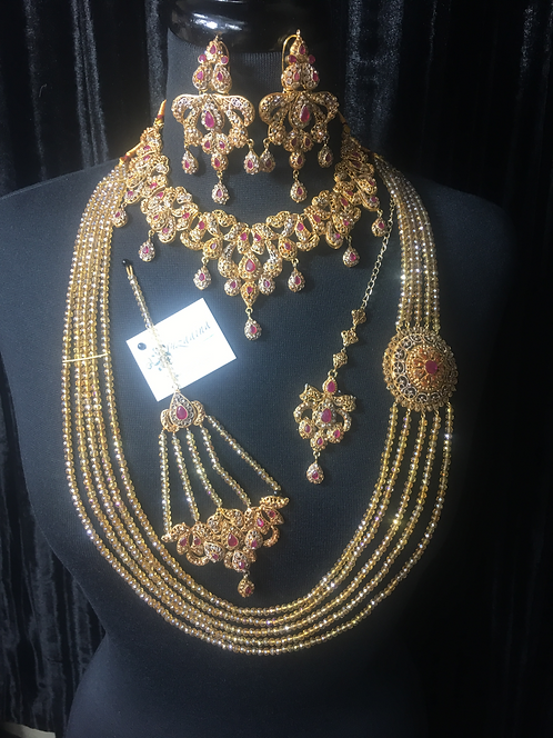 Sahiba 22k Goldplated Bridal Set in Champagne and Ruby stones