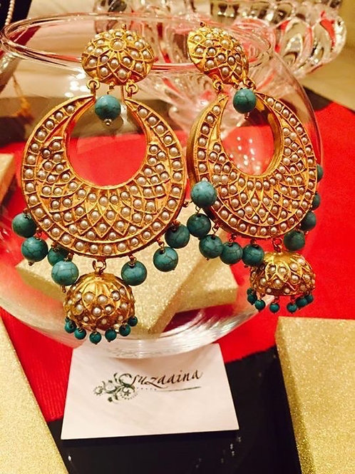Chand 22k Gold plated Handcrafted Feroza and Pearl Baley