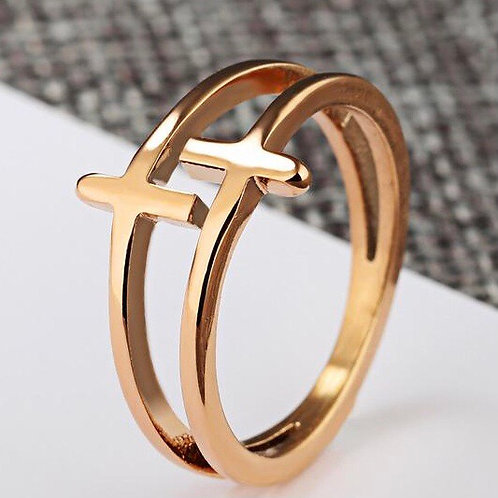 Sky Stainless steel 18k Rosegold plated Ring.