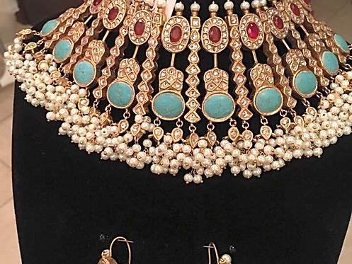 Meraj Gold plated handcrafted kundan, rubies and pearls bridal set
