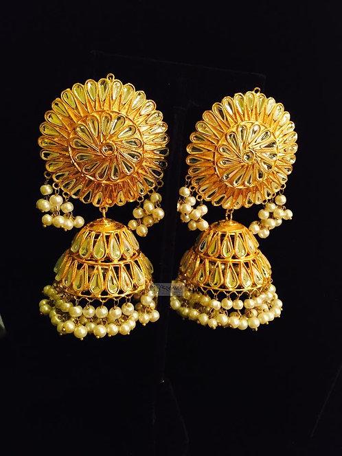 Sunflower Kundan & pearls jhumkey