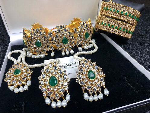 Gamila 22k Gold plated Kundan Choker Set.