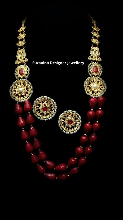 Hamiza 22k Gold plated Handcrafted Kundan Mala Set.