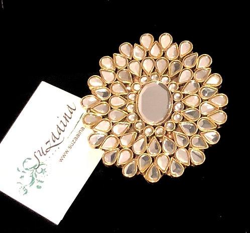 Suraj 24k Gold plated Handcrafted Kundan Ring