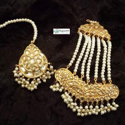 Jolan 22k Gold plated Handcrafted Kundan Jhumer Tikka.