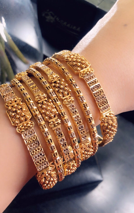 Zumna 24k Gold and Rhodium plated bangles.