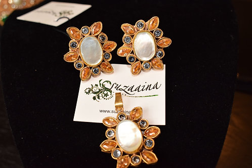Spring 24k Gold plated Handcrafted Kundan 3 pieces Pendant Set.
