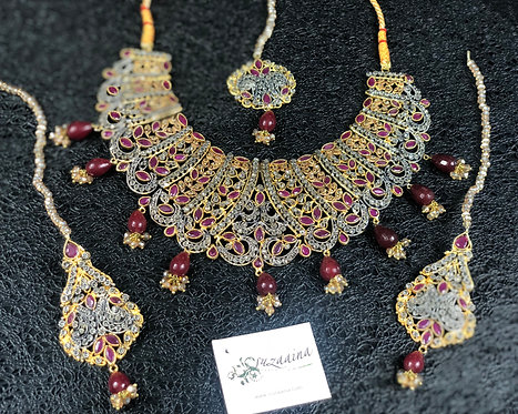 Khiraj 22k Gold and Rhodium plated Handcrafted Bridal Set.