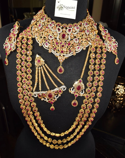 Sabeen 22k Gold Plated Handcrafted Bridal Set with Maikal Mala.