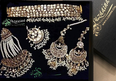Ameerab 24k Gold plated Handcrafted Kundan Bridal Set.