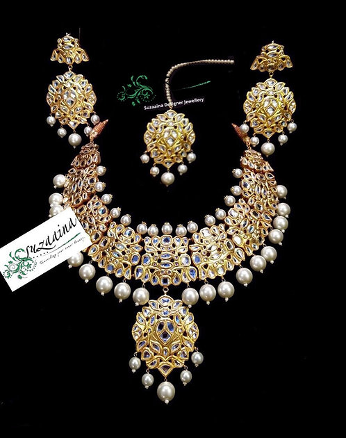 Uroosiya 22k Gold plated Handcrafted Grand Bridal Set.