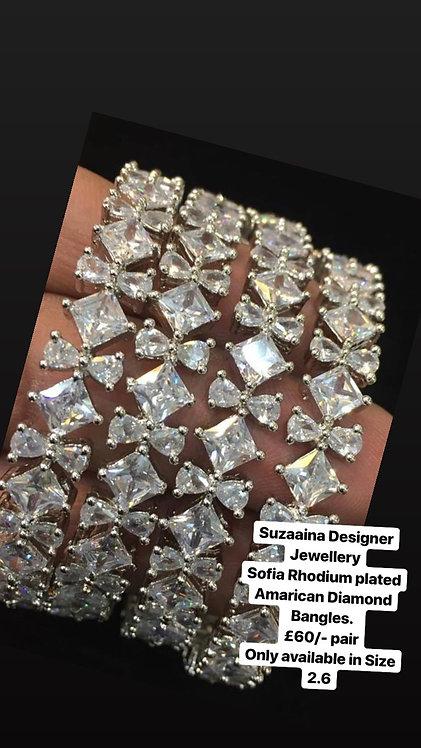 Sofia Rhodium plated American Diamond Bangles .