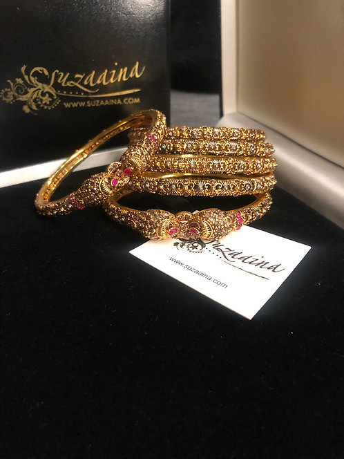 Raval 22k Gold and Rhodium plated Set of Bangles