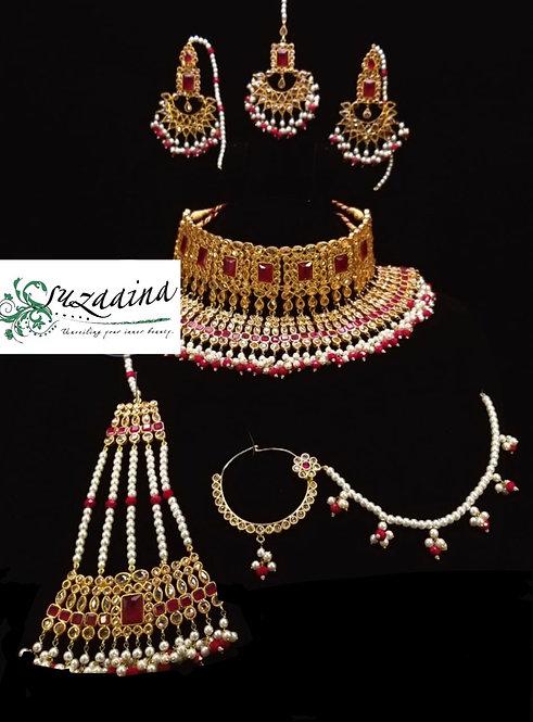 Zuhra 24k Gold plated Handcrafted Kundan Bridal Set.