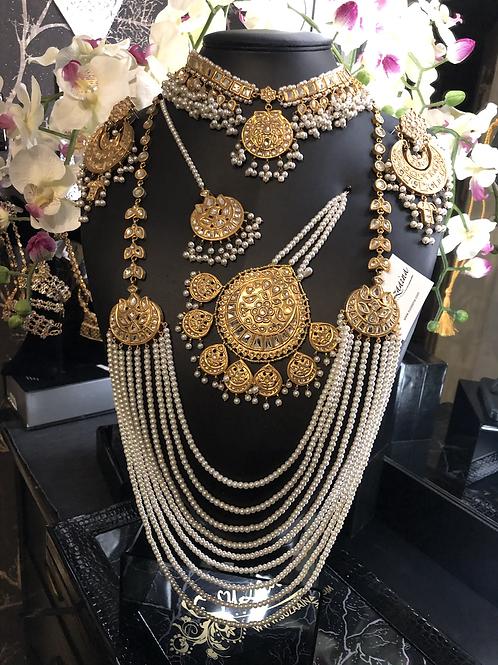 Fatima 22k Gold plated Kundan and Pearls Royal Bridal Set