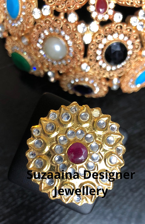 Leela 22k Gold plated Handcrafted Kundan Ring (Adjustable size)