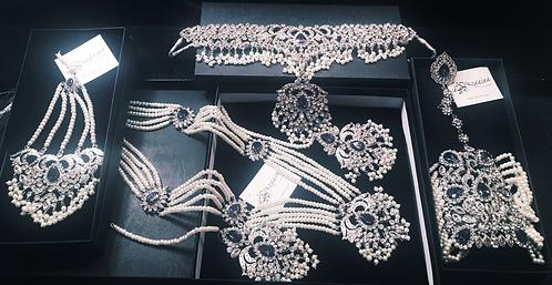Emaq 7 pieces rhodium plated Choker Bridal Set .