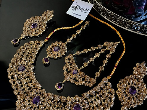 Hiba 22k Gold plated Diamond Polki Bridal Set