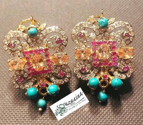 Zeenah 24k Gold plated Handcrafted Earrings.