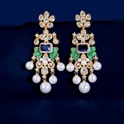 Shahee 22k Gold plated Gold Plated Luxury Chandelier Earrings