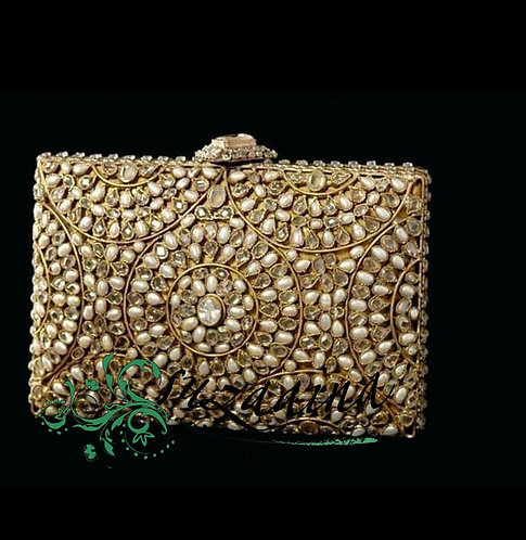 Rania Gold Plated Pearls & Citrine stones Clutch