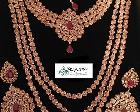 Zoha Gold plated Handcrafted Polki Bridal Set.
