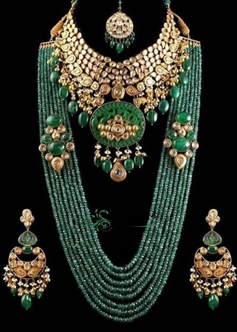 Marjan 22k Gold plated Handcrafted Kundan Bridal Set.