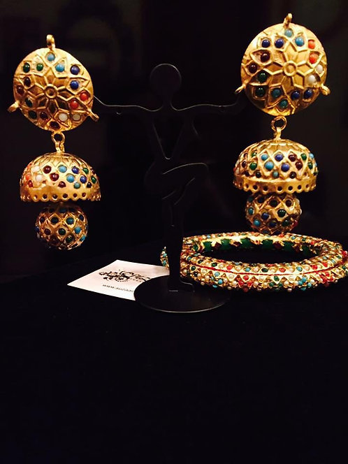 Dhola Naurrattan 22k Gold plated Handcrafted Earrings