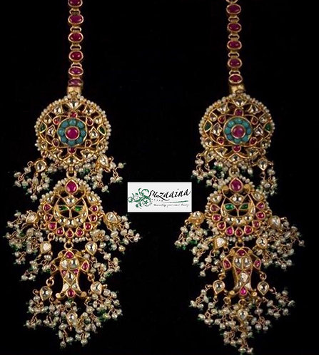 Raheema 22k Gold plated handcrafted Kundan Earrings .