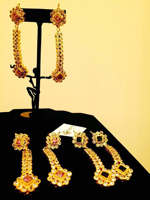 KUNDAN BARFI 22k Gold plated Handcrafted Earrings