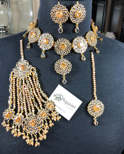 Rose 22k Gold plated Handcrafted Bridal Set.