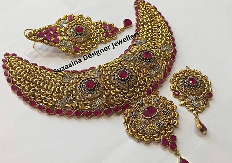 Zimna 22k Gold plated Handcrafted Bridal Set.