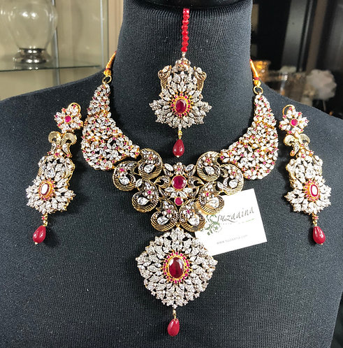 Belaash 22k Gold Plated Bridal Set in Ruby stones.