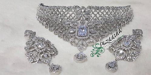 Joy Rhodium plated Zircon Bridal Set.