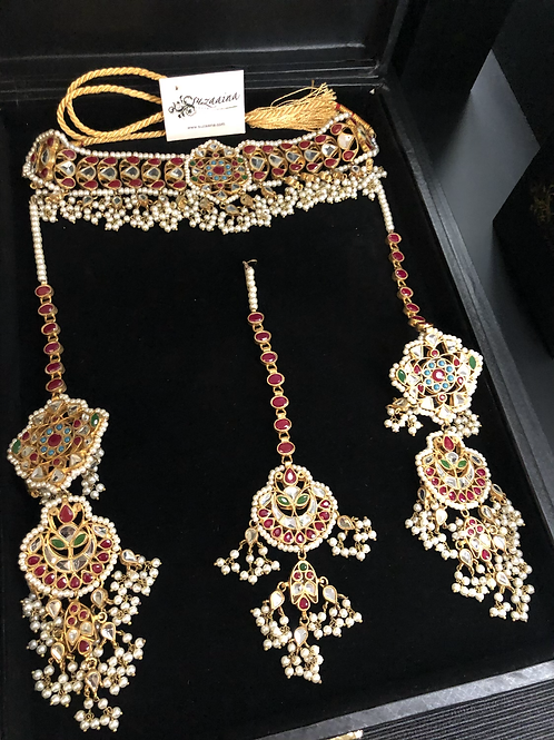 Raheema 22k Gold plated Handcrafted Bridal Set.