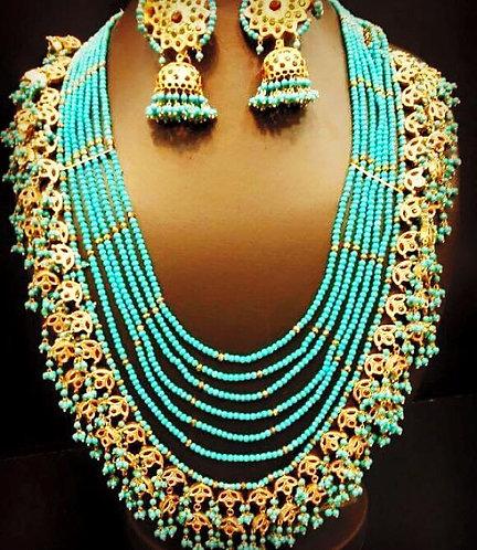 Abeer 24k Gold plated Multi layered Feroza Kundan Mala Set