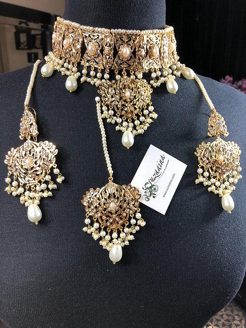 Jamna 22k Gold Plated Choker Bridal set