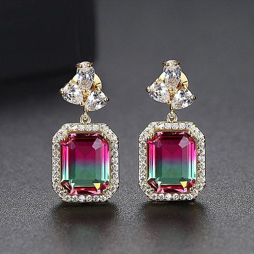 Junal 14k Gold Plated Zircon Simplistic Drop Earrings