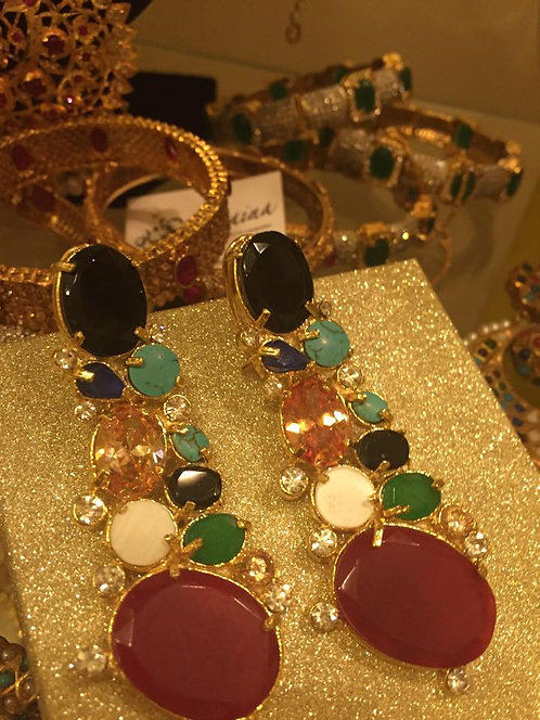 Anhab 22k Gold plated Handcrafted Multi stones Dangler