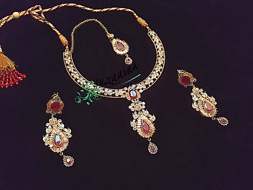 Shereen 24k Gold plated Necklace and Mala Bridal Set