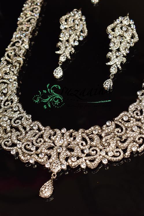 Zaaina Rhodium plated studded with Zircon Bridal Set