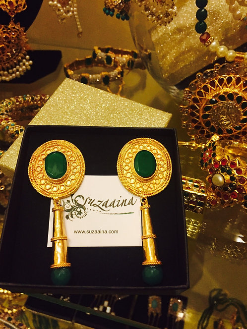 Chakori 22k Gold plated Handcrafted Emerald Earrings