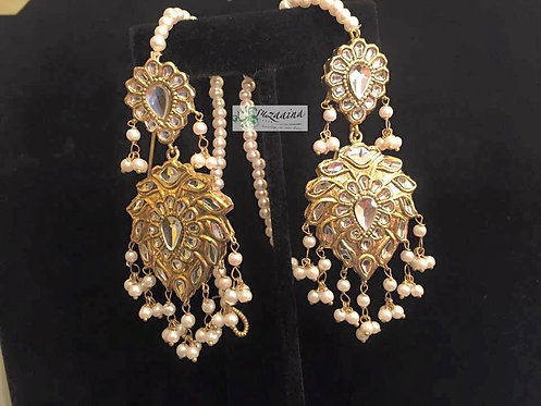 22k Gold plated Kundan & pearls royal earrings