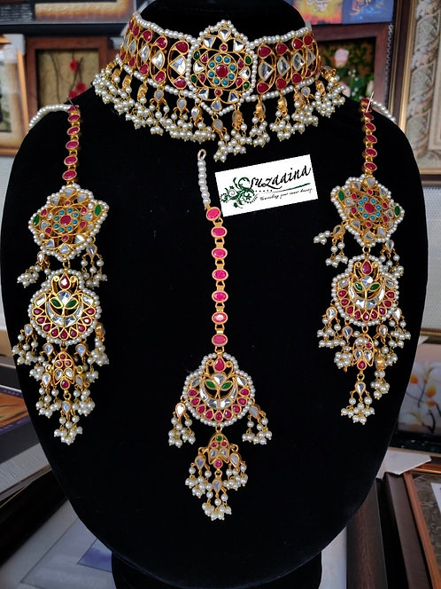 Raheema 22k Gold plated Handcrafted Bridal Set.